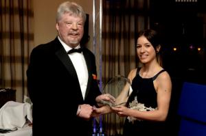 Simon Weston OBE presenting Danielle Driscoll with her award